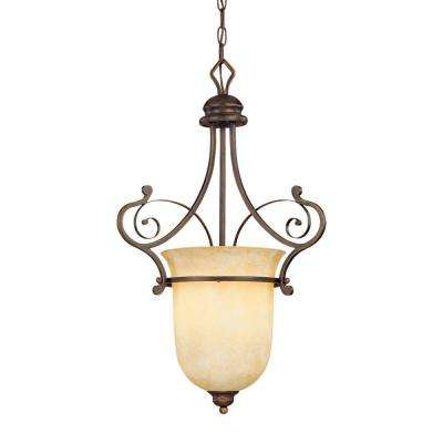 1-Light Rubbed Bronze Pendant with Turinian Scavo Glass