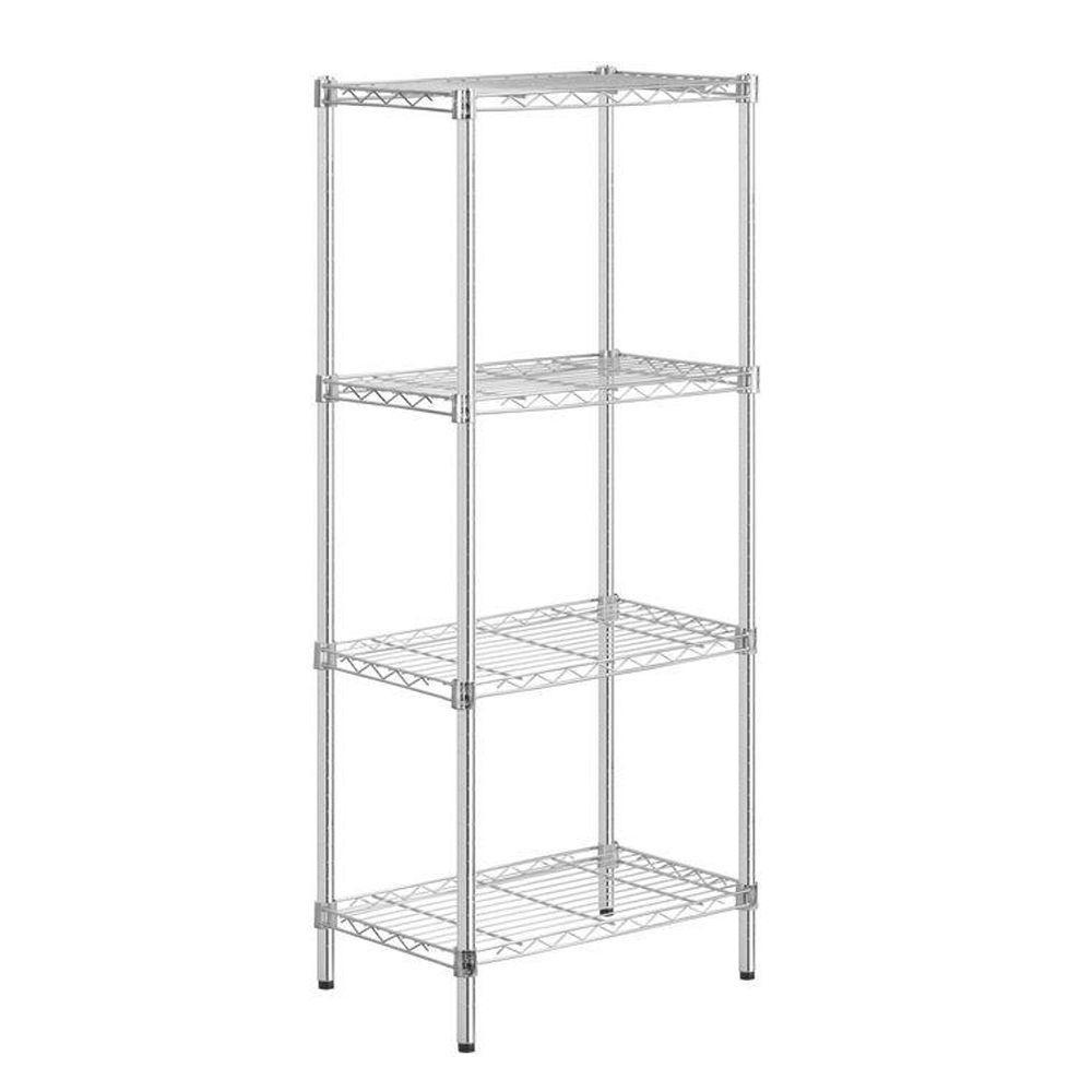 54 in. H x 24 in. W x 14 in. D 4-Shelf Steel Shelving Unit in Chrome