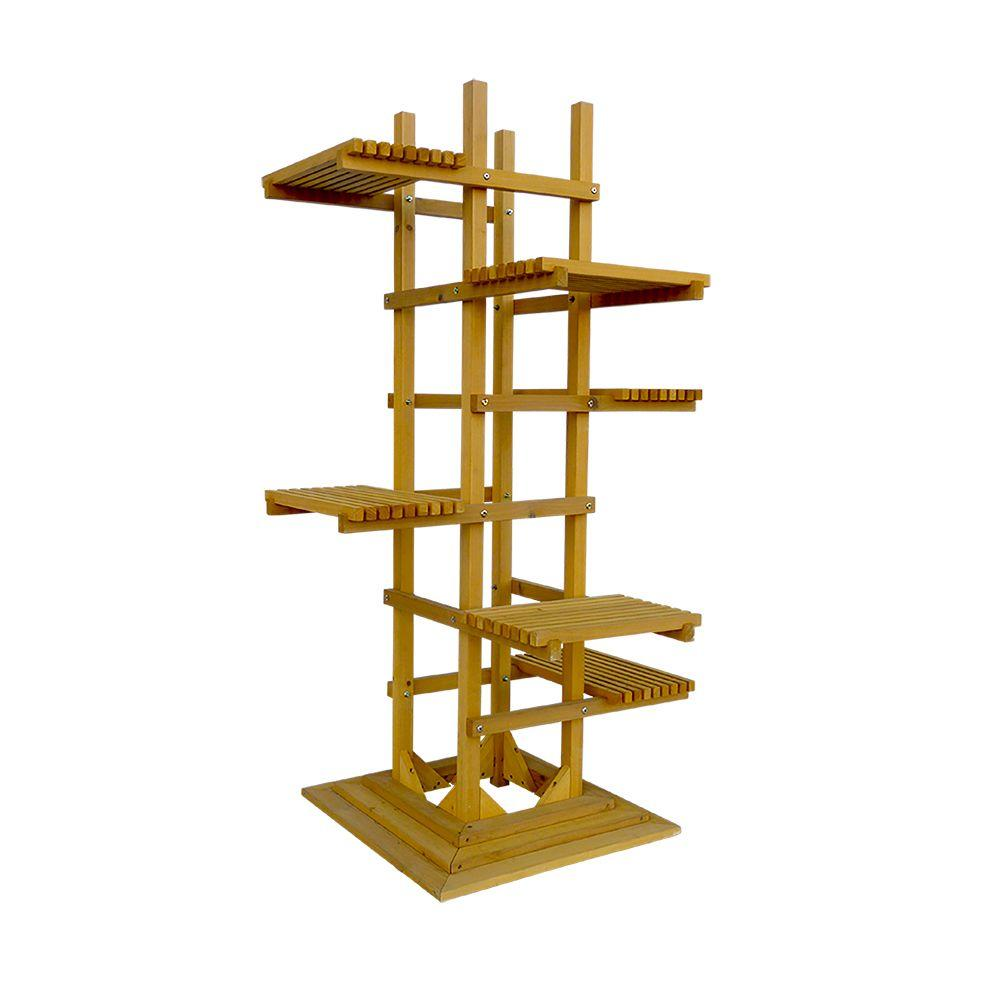 Leisure season 29 in w x 60 in h 6 tier wooden pedestal How to build a tiered plant stand