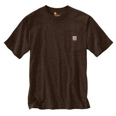 Men's Regular XX Large Dark Coffee Heather Cotton/Polyester Short-Sleeve T-Shirt