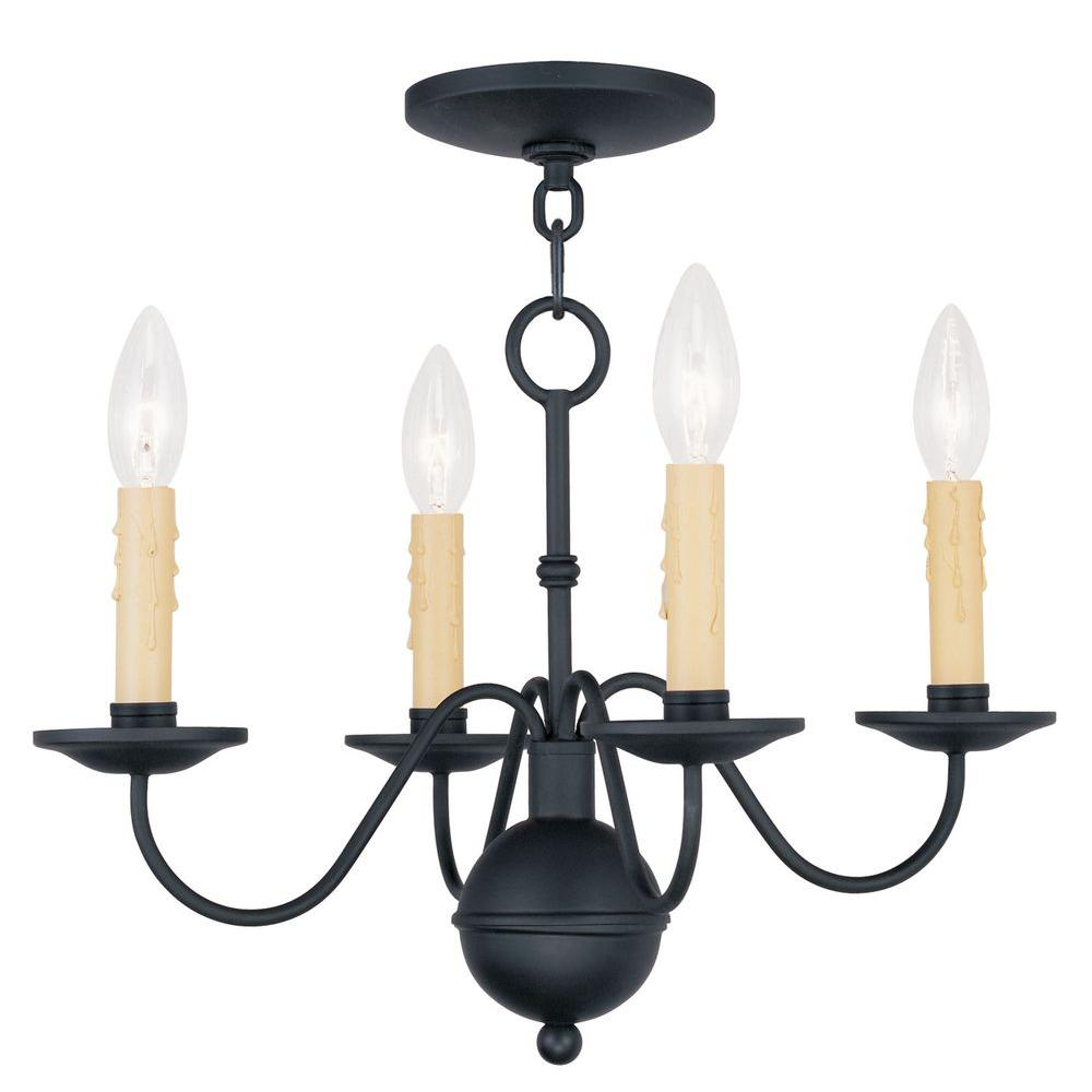 Livex Lighting Providence 4-Light Black Incandescent Ceiling Mini Chandelier