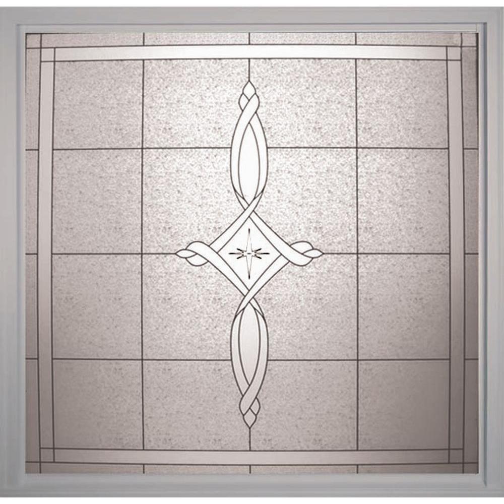 Hy-Lite 49.75 in. x 49.75 in. Decorative Glass Fixed Vinyl Window - White