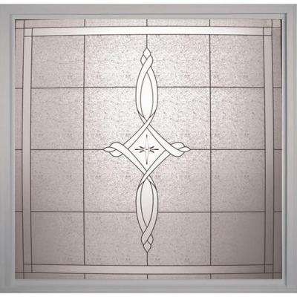 49.75 in. x 49.75 in. Decorative Glass Fixed Vinyl Window - White
