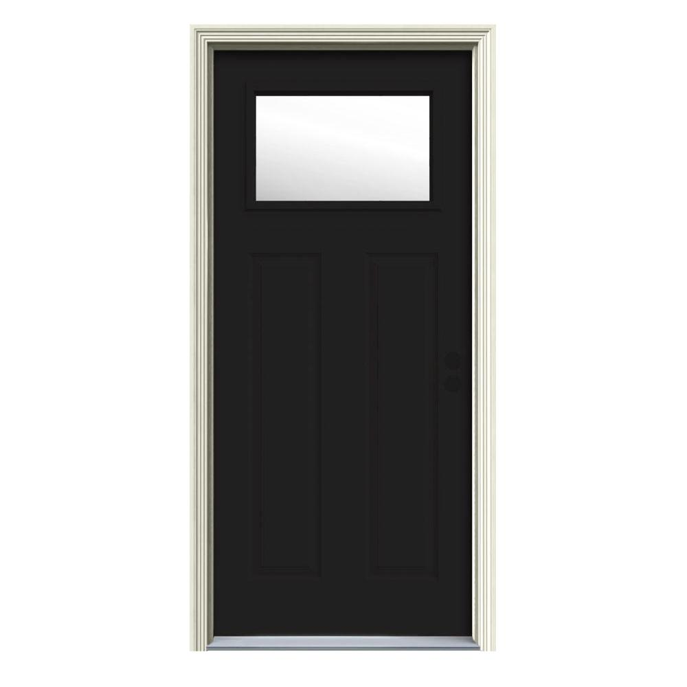 32 in. x 80 in. 1 Lite Craftsman Black w/White Interior