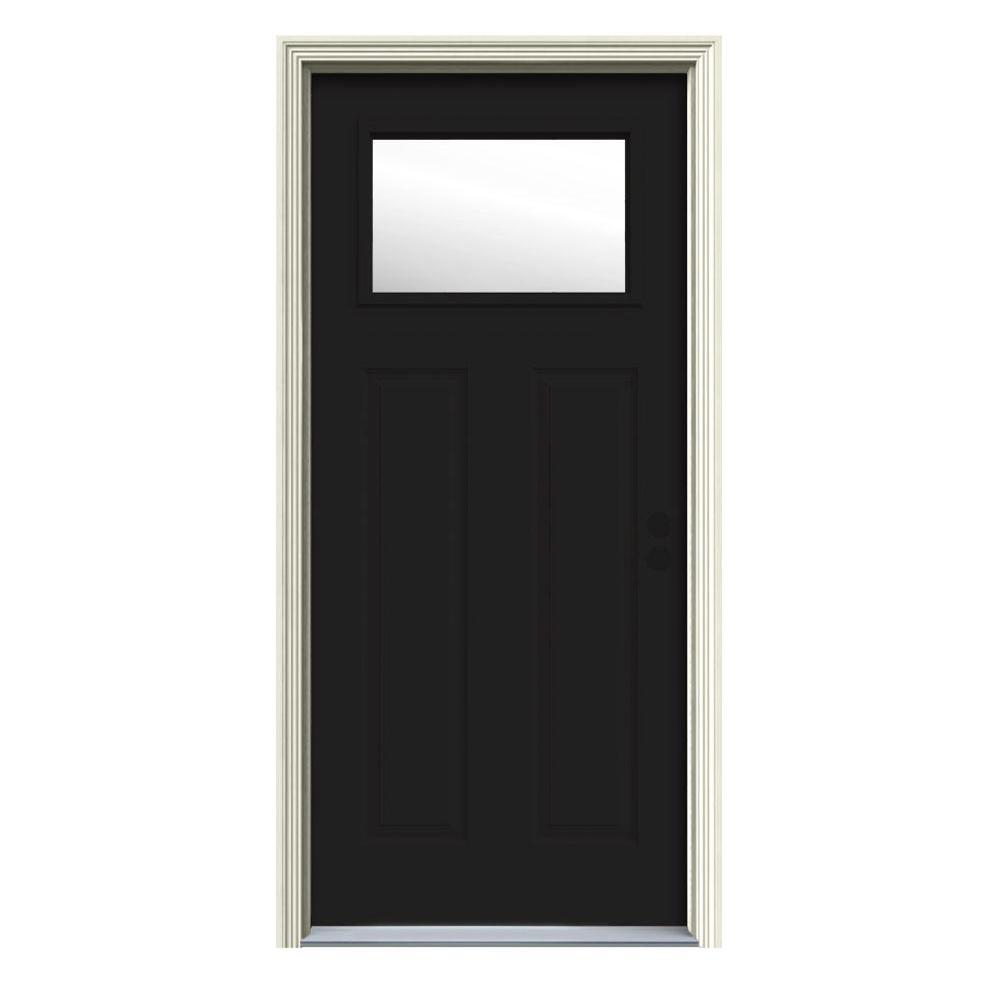 34 in. x 80 in. 1 Lite Craftsman Black w/White Interior