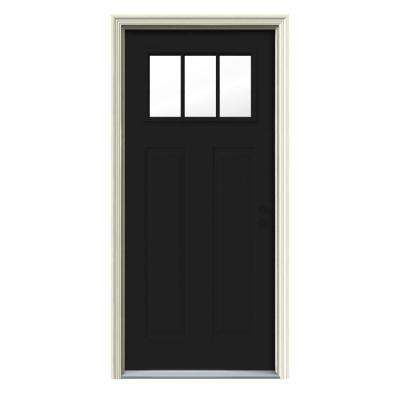 Jeld wen front doors exterior doors the home depot craftsman 3 lite painted steel prehung front door eventshaper