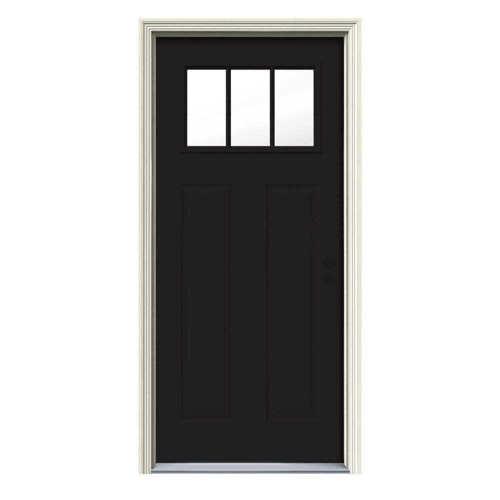 34 in. x 80 in. 3 Lite Craftsman Black Painted Steel Prehung Left-Hand Inswing Front Door w/Brickmould