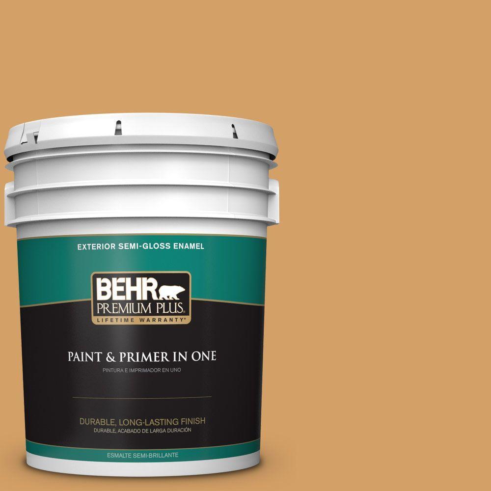 BEHR Premium Plus 5-gal. #300D-5 Desert Caravan Semi-Gloss Enamel Exterior Paint