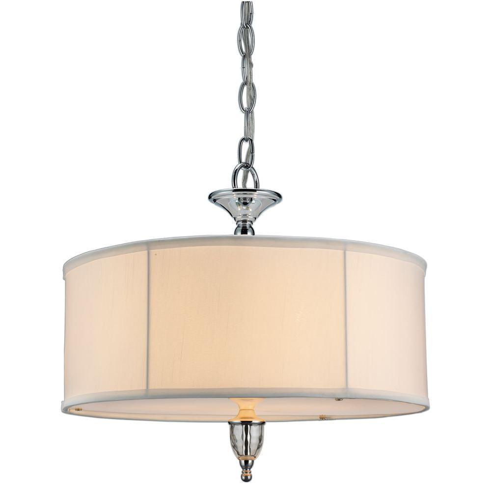 Hampton Bay Waterton Collection 3-Light Chrome Large Pendant