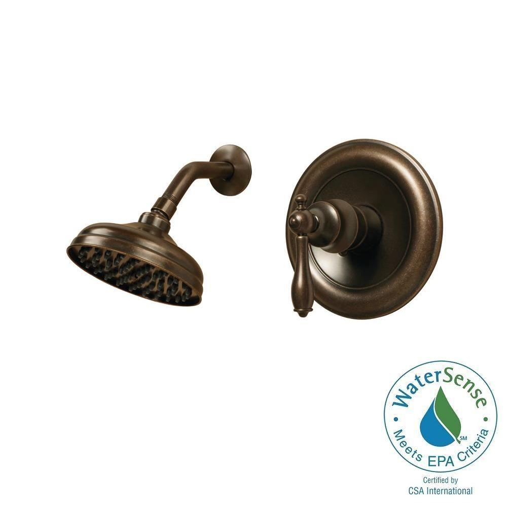 Pegasus Estates WaterSense 1 Handle Shower Faucet in Heritage Bronze with  Single Function Showerhead. Pegasus Estates WaterSense 1 Handle Shower Faucet in Heritage
