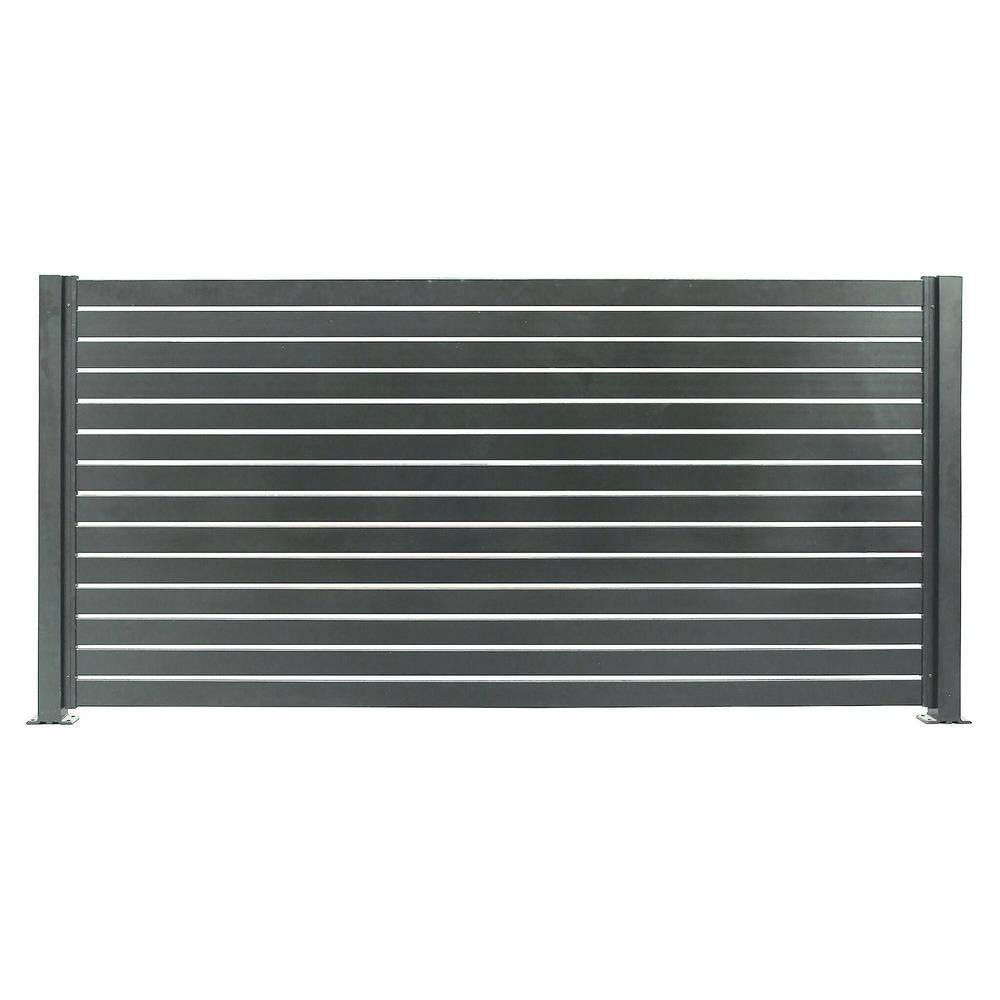Quick Screen 7.83 ft. x 5.91 ft. x 0.20 ft. Slate Gray Aluminum Slat Kit for fence panels