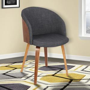 Cool Armen Living Alpine 31 In Charcoal Fabric And Walnut Wood Short Links Chair Design For Home Short Linksinfo