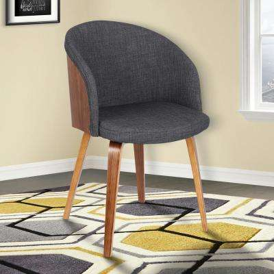 Alpine 31 in. Charcoal Fabric and Walnut Wood Finish Mid-Century Dining Chair