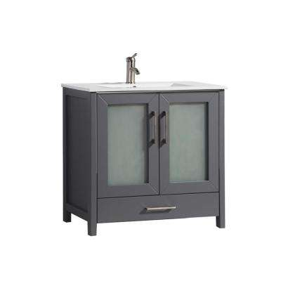 Arezzo 36 in. W x 18 in. D x 36 in. H Vanity in Grey with Porcelain Vanity Top in White with White Basin
