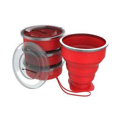 6 oz. Collapsible Travel Cups in Red (4-Pack)