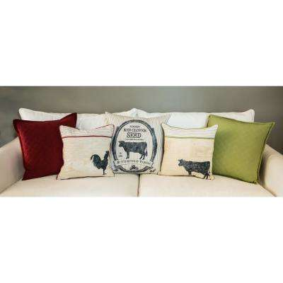 Farmhouse Green Quilted Decorative Pillow