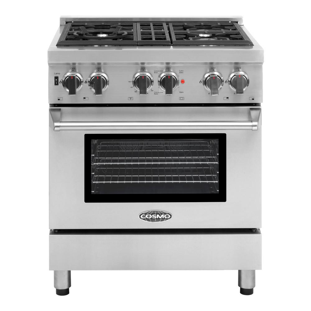 Cosmo Commercial Style 30 In. 3.9 Cu. Ft. Dual Fuel Range With