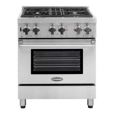 Commercial-Style 30 in. 3.9 cu. ft. Dual Fuel Range with 4 Italian Burners Cast Iron Grates and 4 Function Electric Oven
