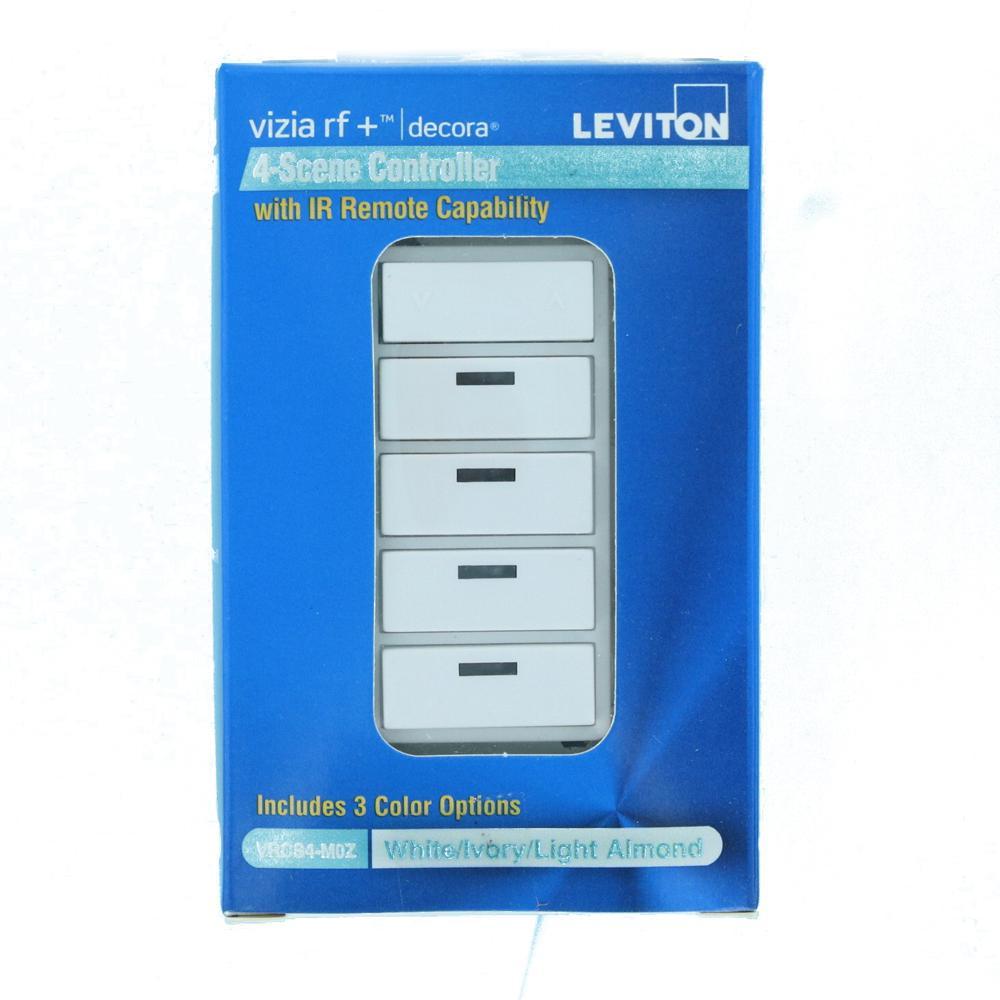 White//Ivory//Almond 4-Button Scene Controller for Multi-Location Control with IR Remote Capability Leviton VRCS4-1LX Vizia RF