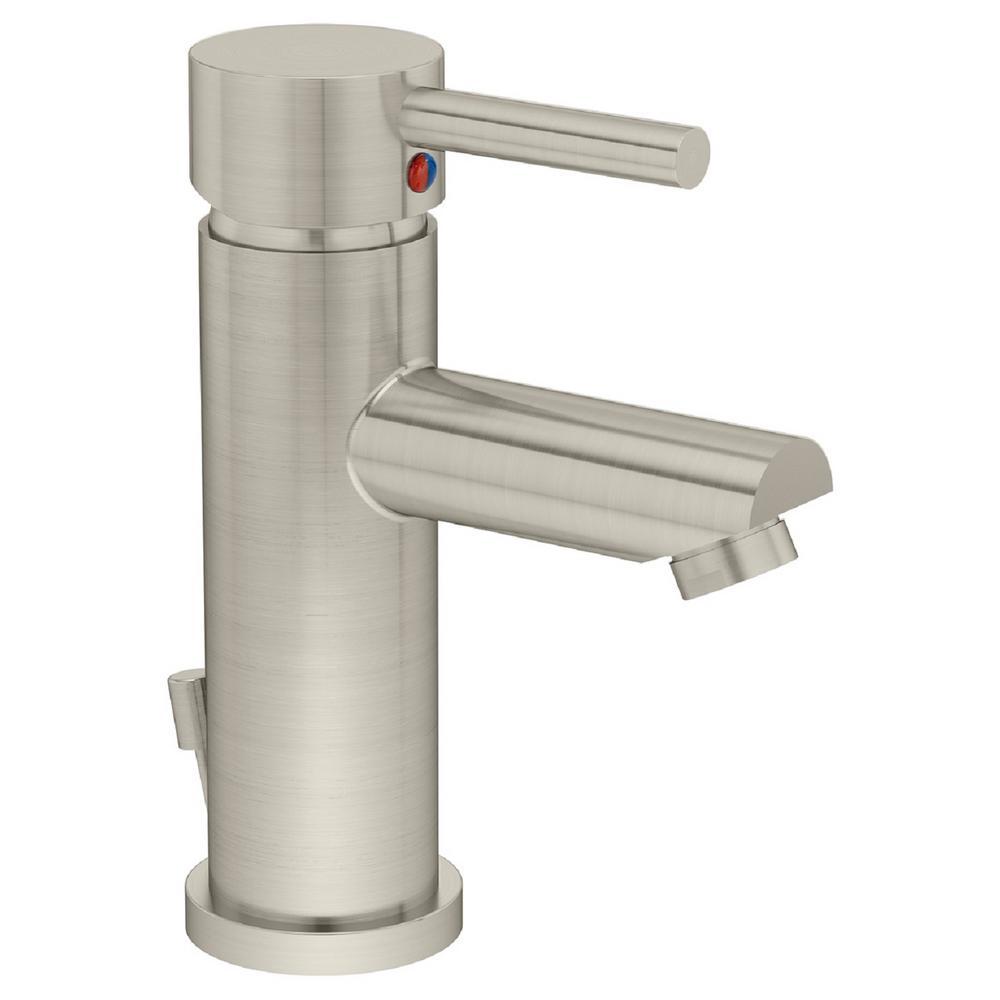 Symmons Dia Single Hole Single-Handle Bathroom Faucet with Metal Drain in Satin Nickel