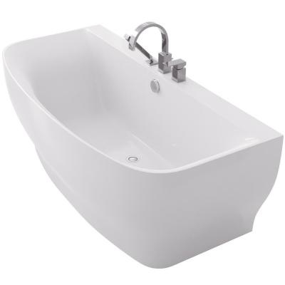 Bank 65 in. Acrylic Flatbottom Non-Whirlpool Bathtub with Deck Mounted Faucet in White