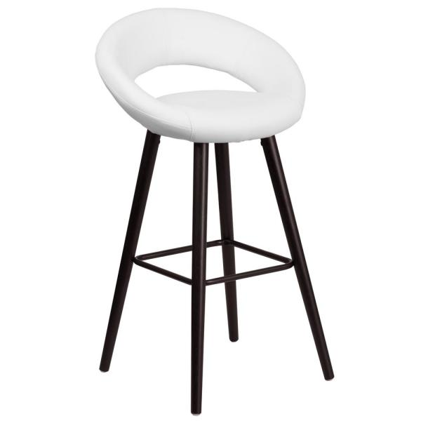 Flash Furniture 30 in. Cappuccino and White Cushioned Bar Stool CH152550WHVY