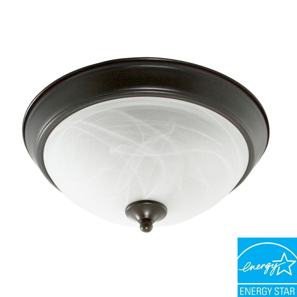 Efficient Lighting Traditional Family Flush Mount in Rubbed Bronze Finish with Bulbs-DISCONTINUED