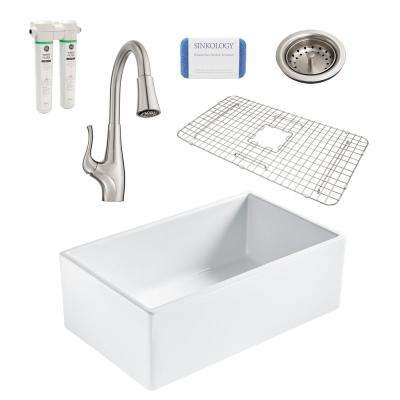 Bradstreet II All-in-One Farmhouse Fireclay 30 in. Single Bowl Kitchen Sink with Pfister Clarify Filtration Faucet