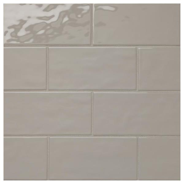 LuxeCraft Gray 4 in. x 8 in. Glazed Ceramic Subway Wall Tile (10.5 sq. ft. / case)
