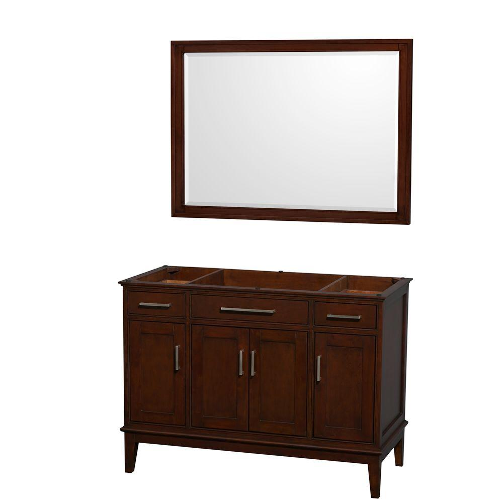 Vanity Cabinet With Mirror In Dark Chestnut