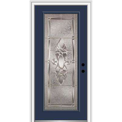 32 in. x 80 in. Heirlooms Left-Hand Inswing Full Lite Decorative Painted Steel Prehung Front Door on 4-9/16 in. Frame