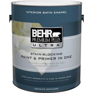 Behr Premium Plus Ultra 1 Gal Ultra Pure White Satin Enamel Interior Paint And Primer In One