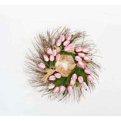 22 in. Tulip Raffia Wreath