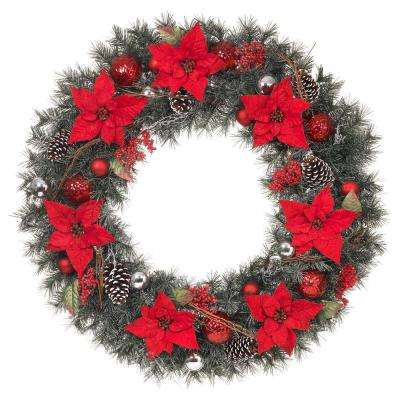 48 in. Unlit Artificial Christmas Wreath with Red Poinsettias
