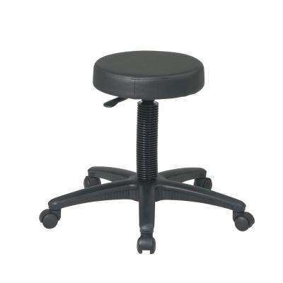 Pneumatic Backless Black Drafting Stool