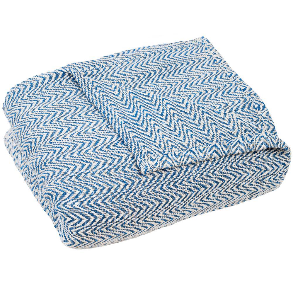 Chevron Blue 100% Egyptian Cotton Twin Blanket