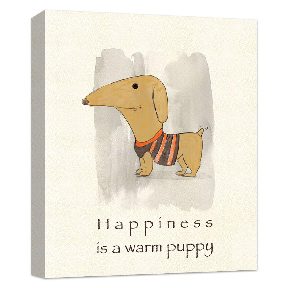 PTM Images 10 in. x 12 in. ''Happiness is a warm puppy'' Canvas Wall Art, Multicolored was $45.52 now $25.98 (43.0% off)