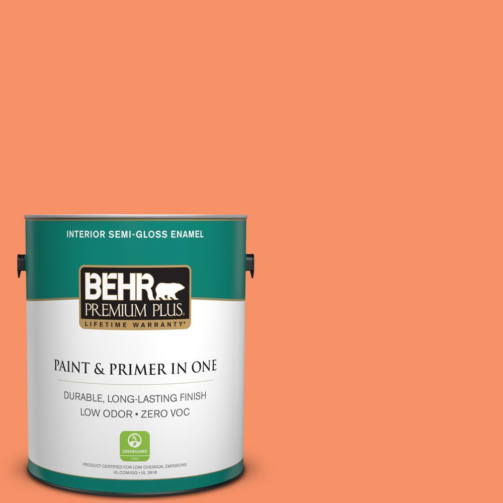 BEHR Premium Plus 1-gal. #210B-5 Tangerine Dream Zero VOC Semi-Gloss Enamel Interior Paint
