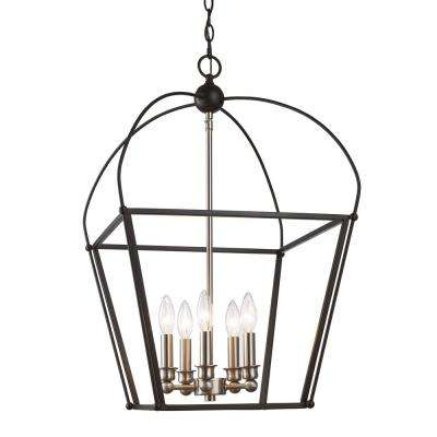 Agnew 5-Light Black and Brushed Nickel Pendant