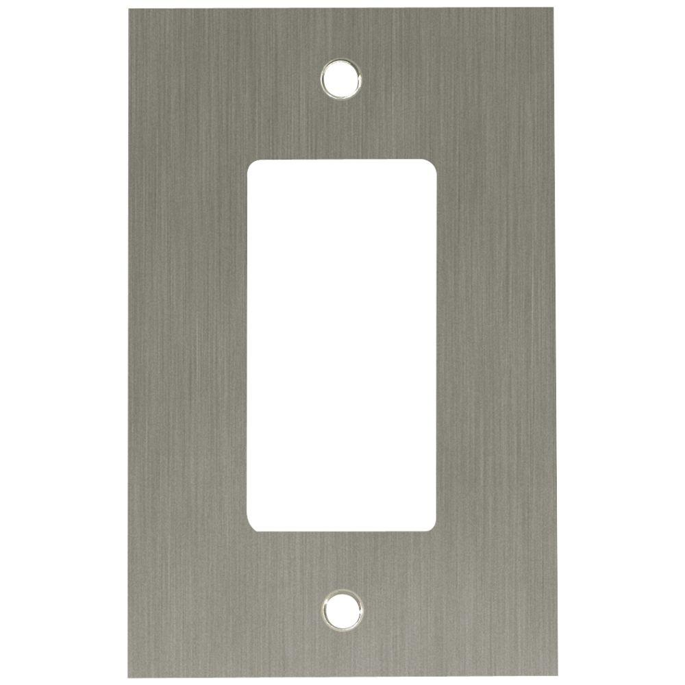 Concave Decorative Single Rocker Switch Plate, Satin Nickel