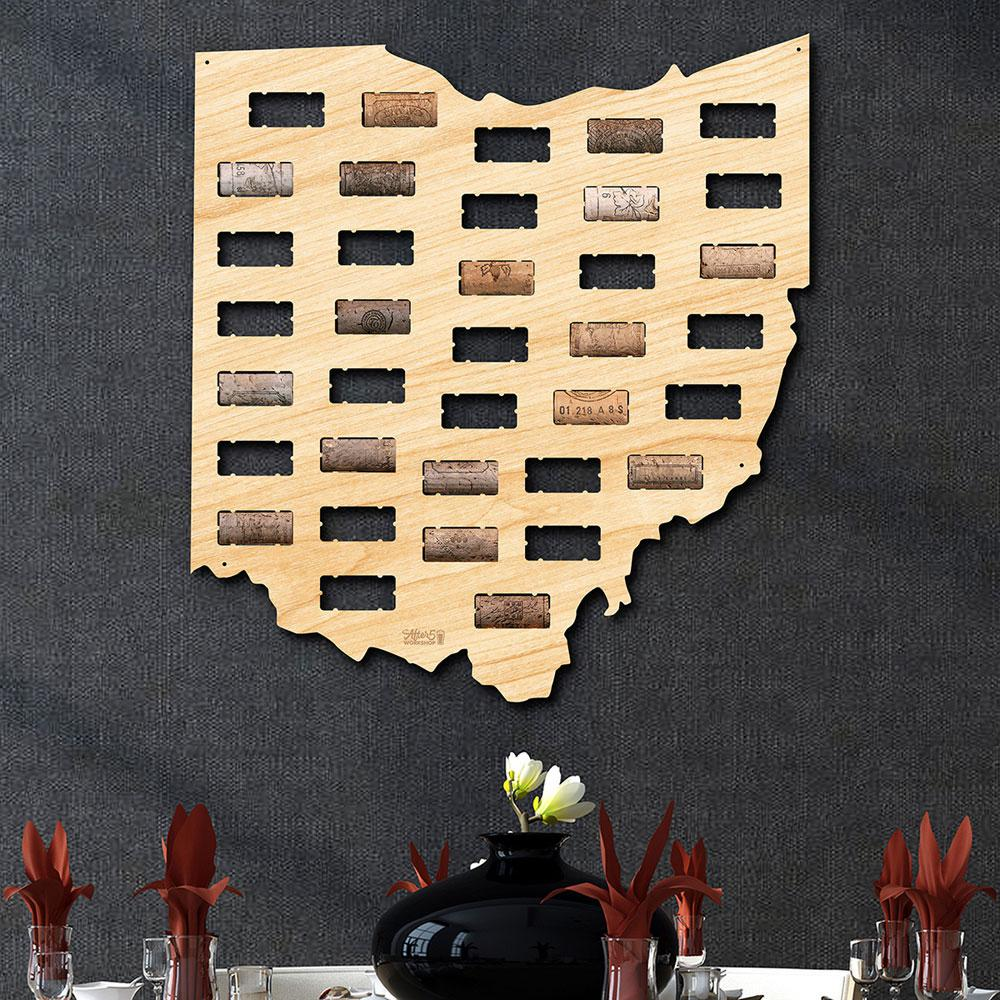 After 5 Workshop 16.5 in. x 18 in. Ohio Wine Cork Map-5821 - The ...