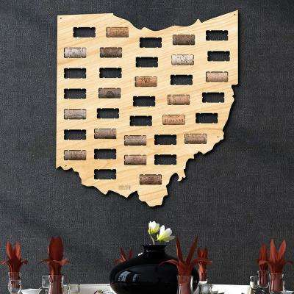 16.5 in. x 18 in. Ohio Wine Cork Map