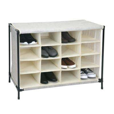 14 in. x 33 in. x 24 in. 16 Compartment Faux Jute Shoe Cubby