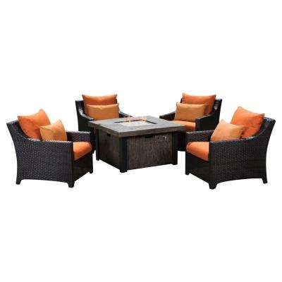Deco 5-Piece Patio Fire Pit Seating Set with Tikka Orange Cushions