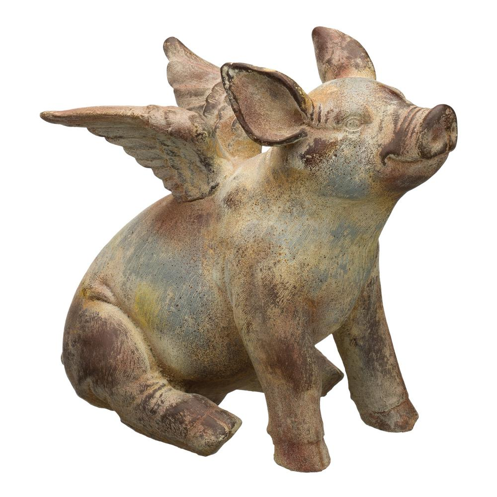 Flying Pig Statue 11 In Regal Outdoor Yard Lawn Garden Decor Weather  Resistant