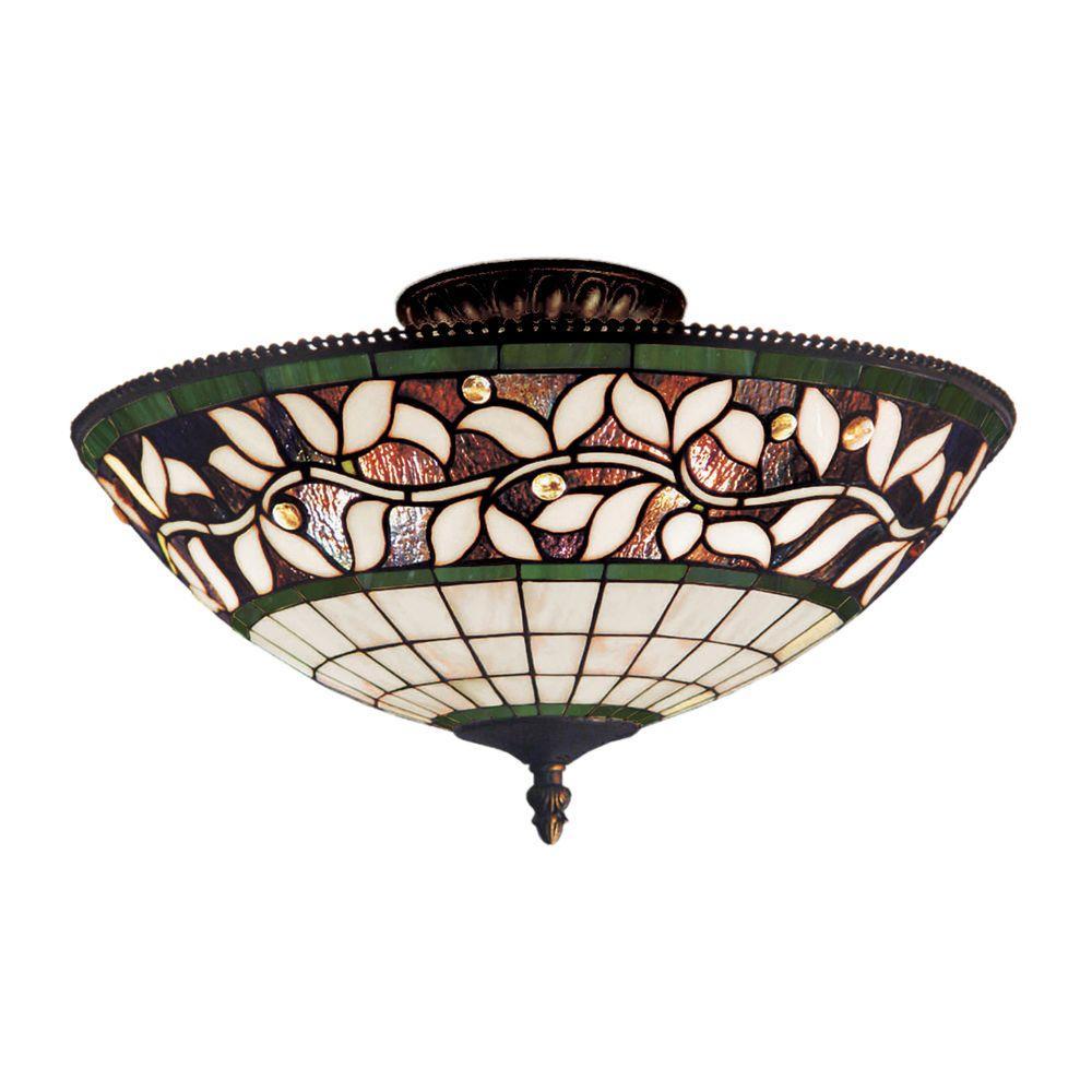 English Ivy 3-Light Tiffany Bronze Ceiling Semi-Flush Mount Light