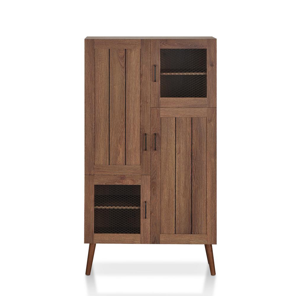 Beeline 56.88 in. H x 31.49 in. W 24-Pair Distressed Walnut Wood Shoe Cabinet