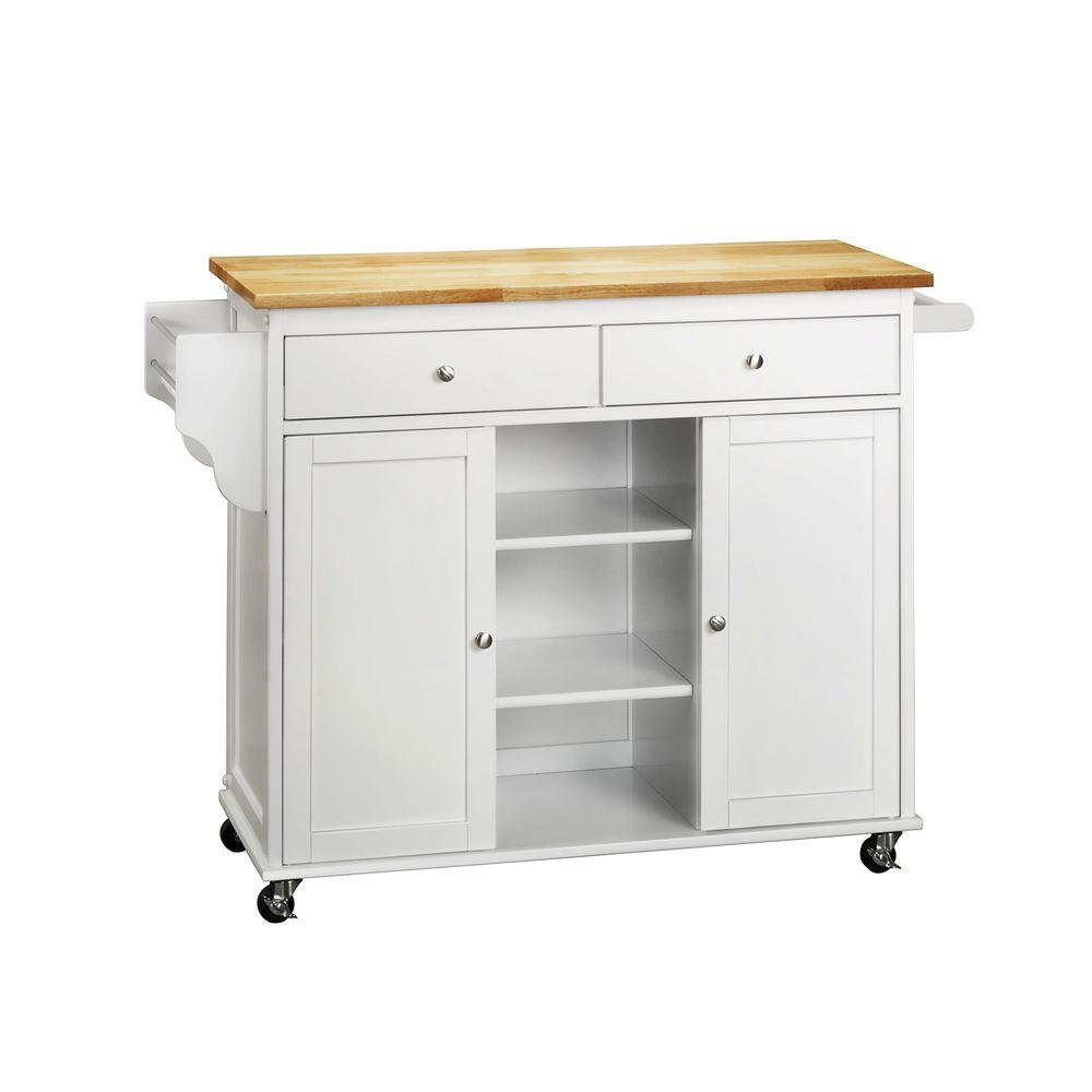 HomeSullivan 17.63 in. Wood Top Kitchen Cart in Asian Rubberwood-DISCONTINUED