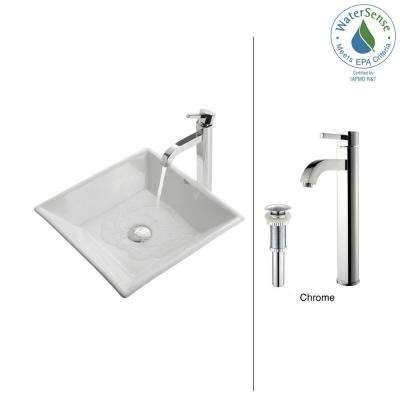 Flat Square Ceramic Vessel Sink in White with Ramus Faucet in Chrome