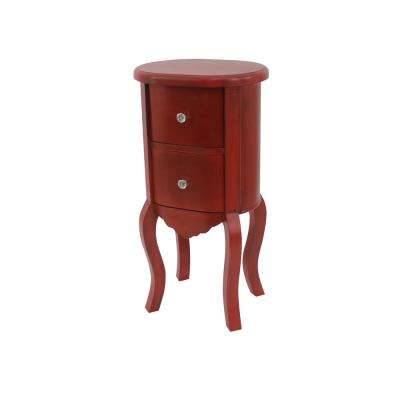 Elegant Red Wood End Table With Drawers